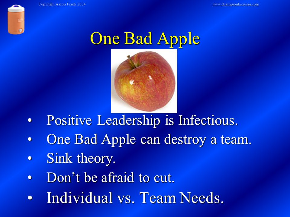 One Bad Apple Positive Leadership is Infectious.Positive Leadership is Infectious.