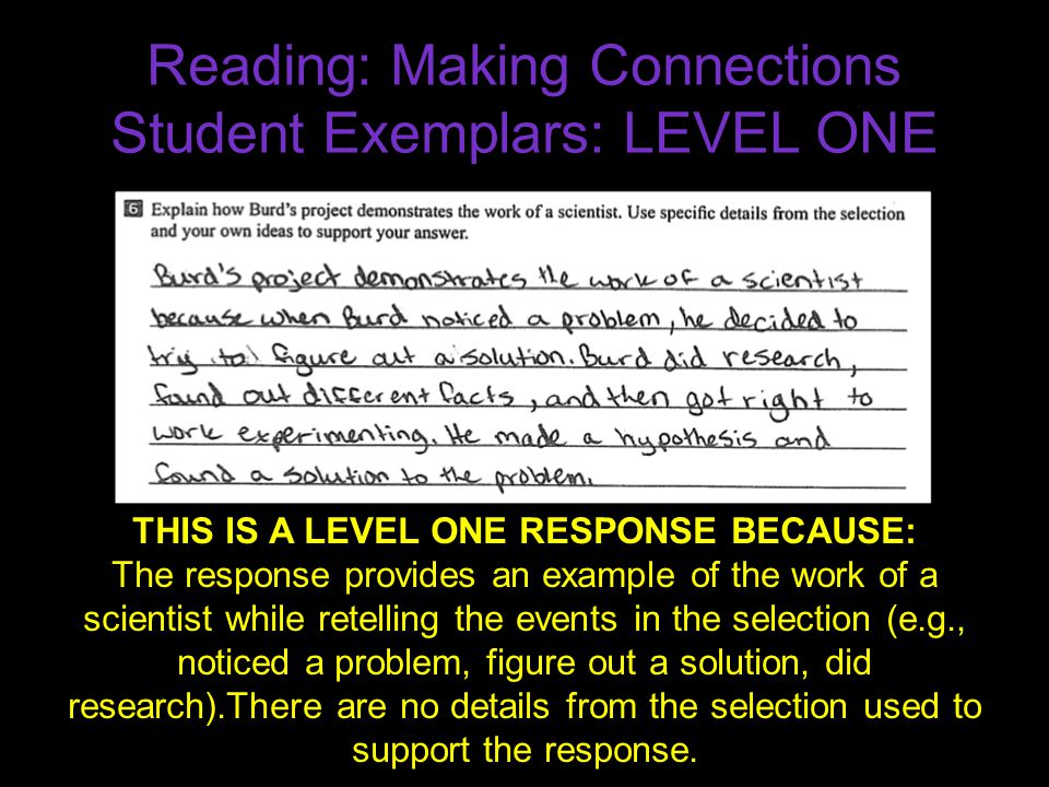 Reading: Making Connections Student Exemplars: LEVEL ONE THIS IS A LEVEL ONE RESPONSE BECAUSE: The response provides an example of the work of a scien