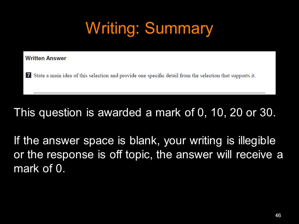 46 Writing: Summary This question is awarded a mark of 0, 10, 20 or 30. If the answer space is blank, your writing is illegible or the response is off