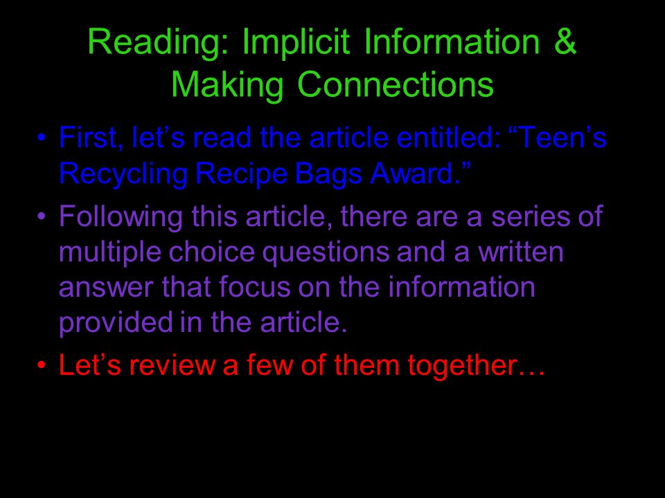 9 Multiple Choice Questions Please turn to page 19 in your booklet and follow along with the reading.