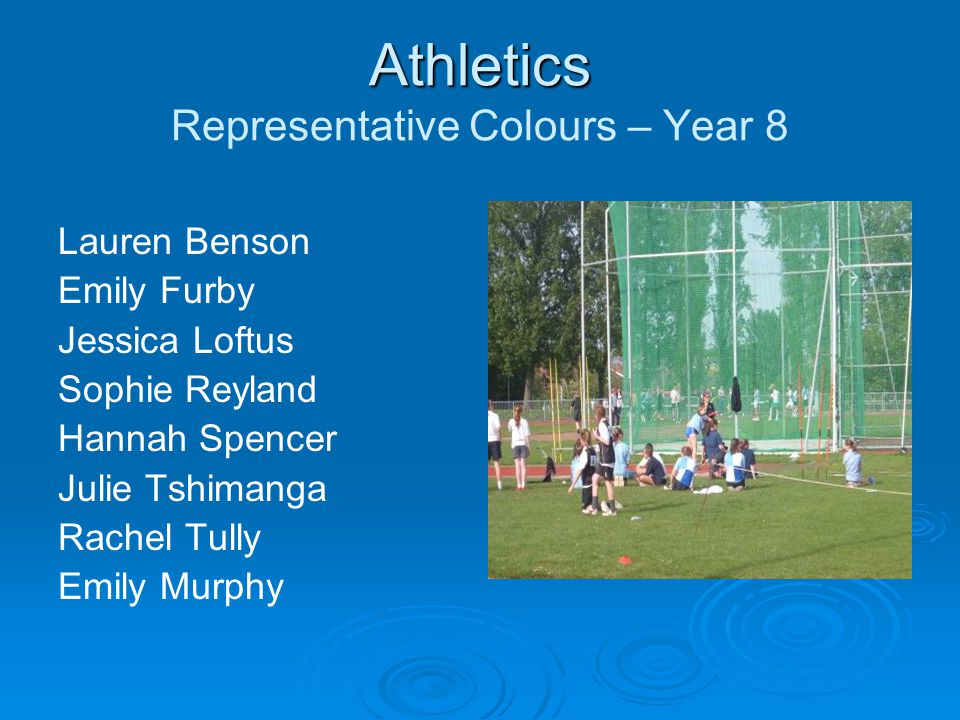 Athletics Athletics Representative Colours – Year 8 Lauren Benson Emily Furby Jessica Loftus Sophie Reyland Hannah Spencer Julie Tshimanga Rachel Tully Emily Murphy