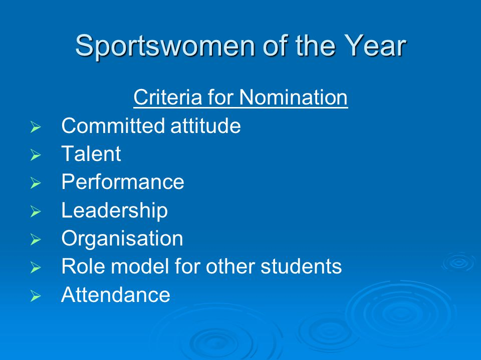 Sportswomen of the Year Criteria for Nomination Committed attitude Talent Performance Leadership Organisation Role model for other students Attendance