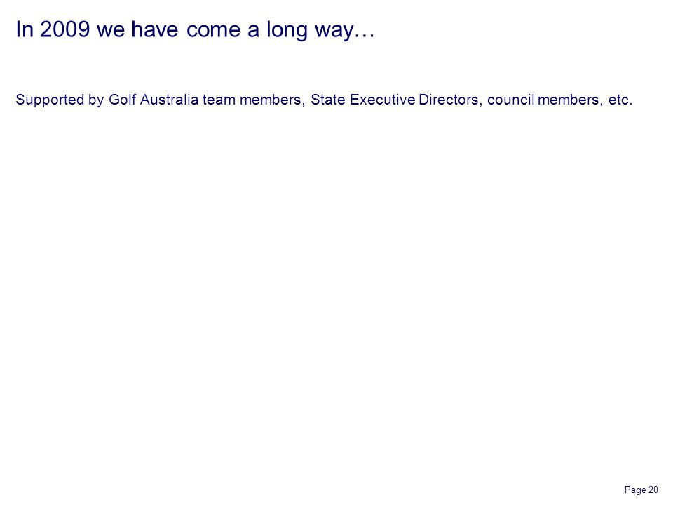 Page 20 In 2009 we have come a long way… Supported by Golf Australia team members, State Executive Directors, council members, etc.