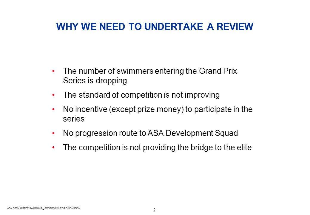 3 ASA OPEN WATER SWIMMING _ PROPOSALS FOR DISCUSSION RECAP