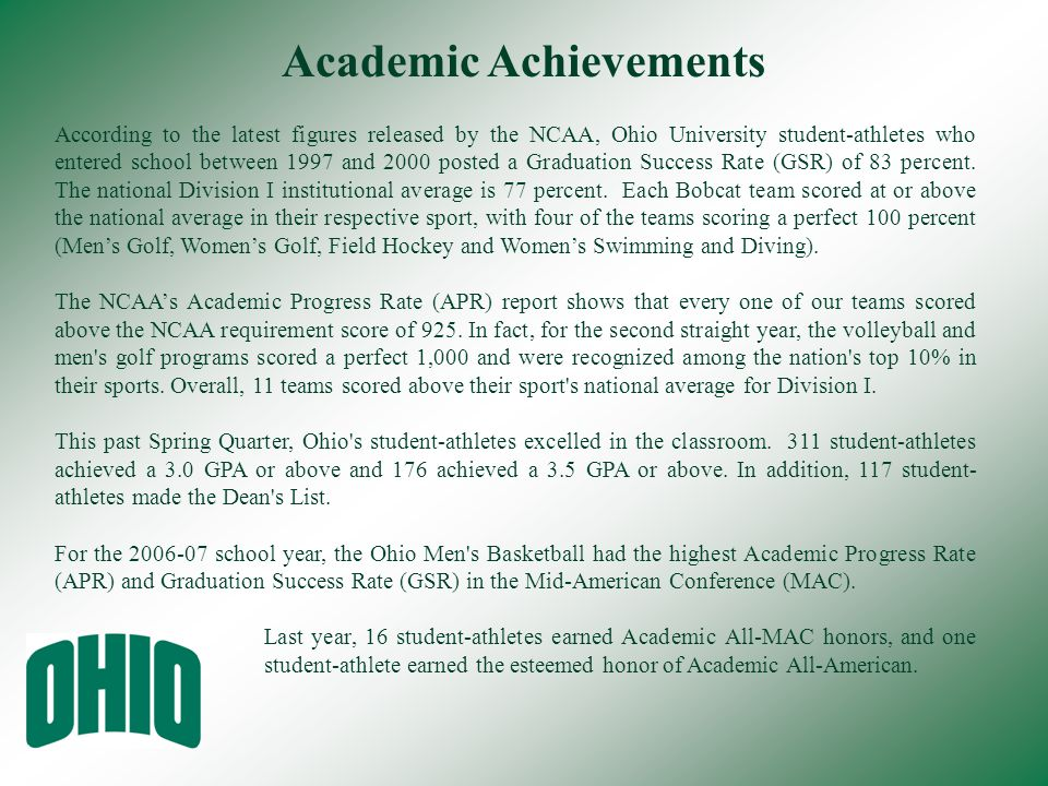 According to the latest figures released by the NCAA, Ohio University student-athletes who entered school between 1997 and 2000 posted a Graduation Su
