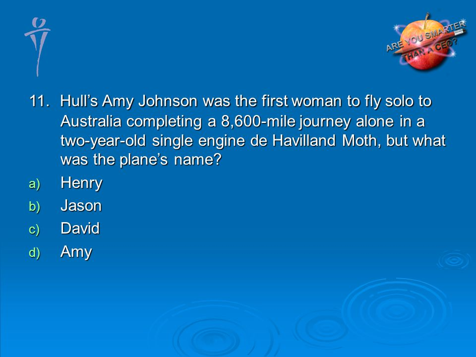 11. Hulls Amy Johnson was the first woman to fly solo to Australia completing a 8,600-mile journey alone in a two-year-old single engine de Havilland