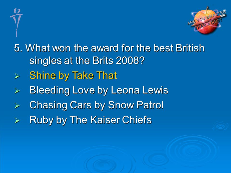 5. What won the award for the best British singles at the Brits 2008.