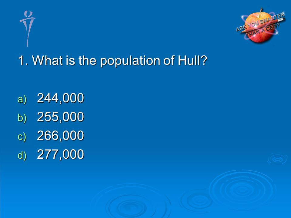 1. What is the population of Hull? 244,000 244,000 255,000 255,000 266,000 266,000 277,000 277,000