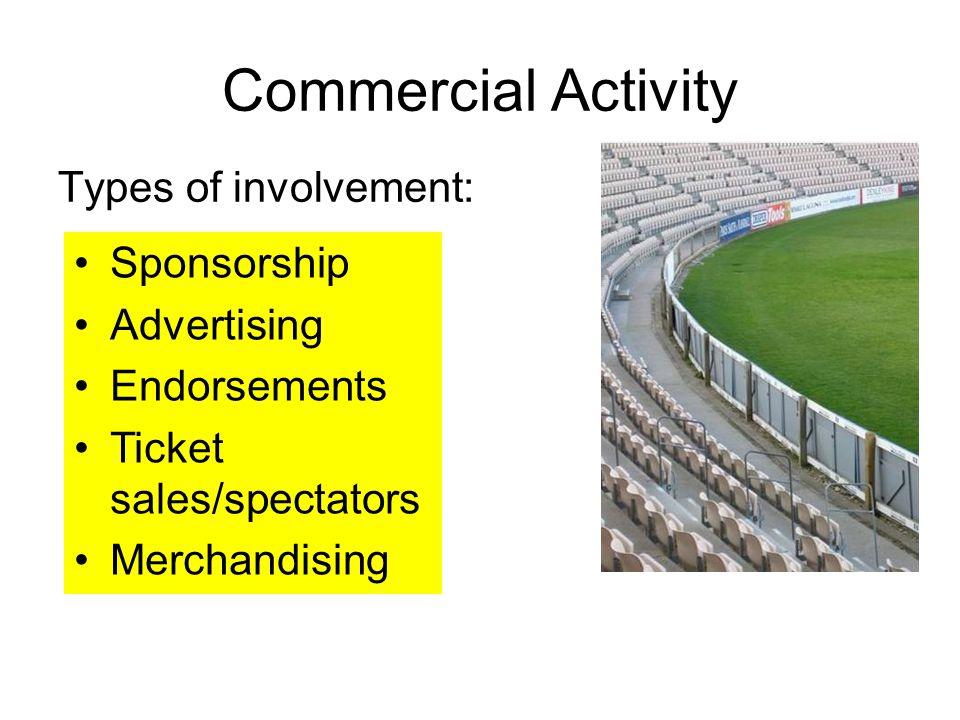 Commercial Activity Types of involvement: Sponsorship Advertising Endorsements Ticket sales/spectators Merchandising
