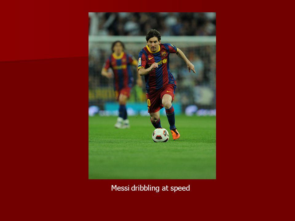 Messi dribbling at speed