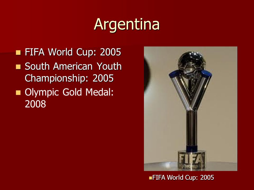 Argentina FIFA World Cup: 2005 FIFA World Cup: 2005 South American Youth Championship: 2005 South American Youth Championship: 2005 Olympic Gold Medal