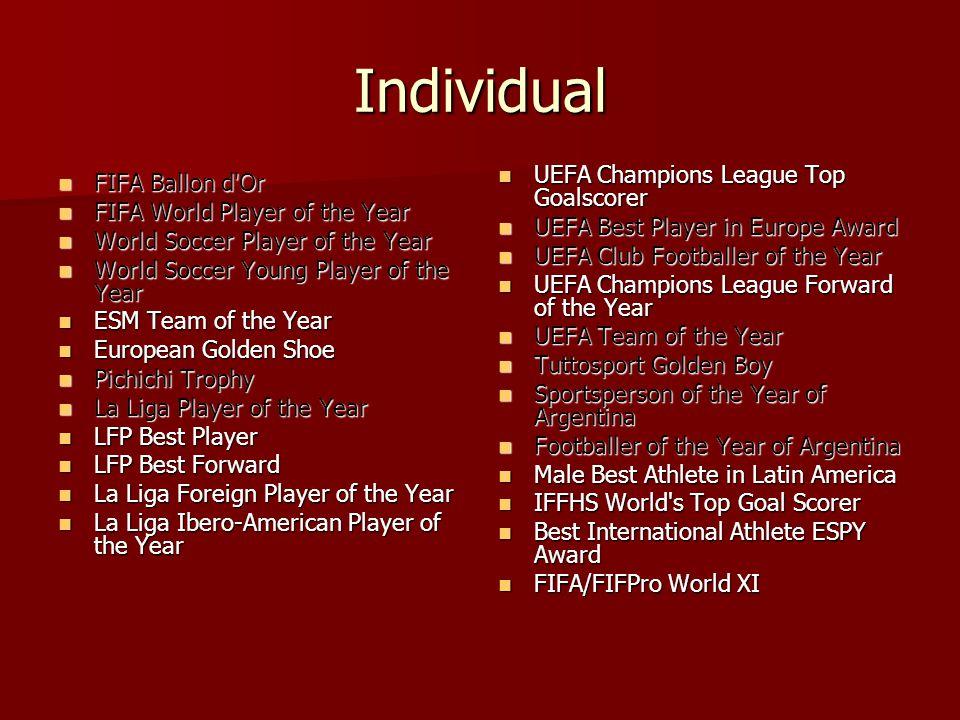 Individual FIFA Ballon d'Or FIFA Ballon d'Or FIFA World Player of the Year FIFA World Player of the Year World Soccer Player of the Year World Soccer
