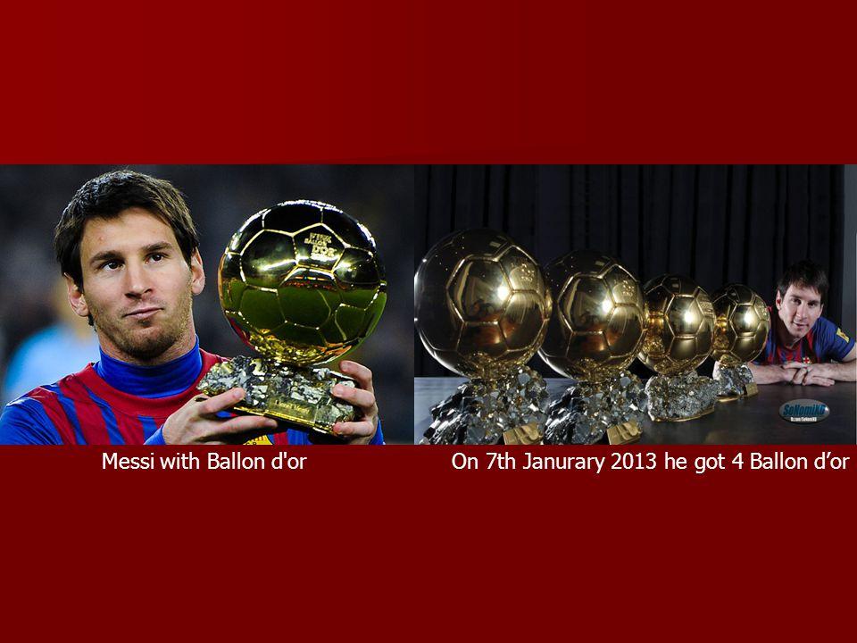 Messi with Ballon d'orOn 7th Janurary 2013 he got 4 Ballon dor