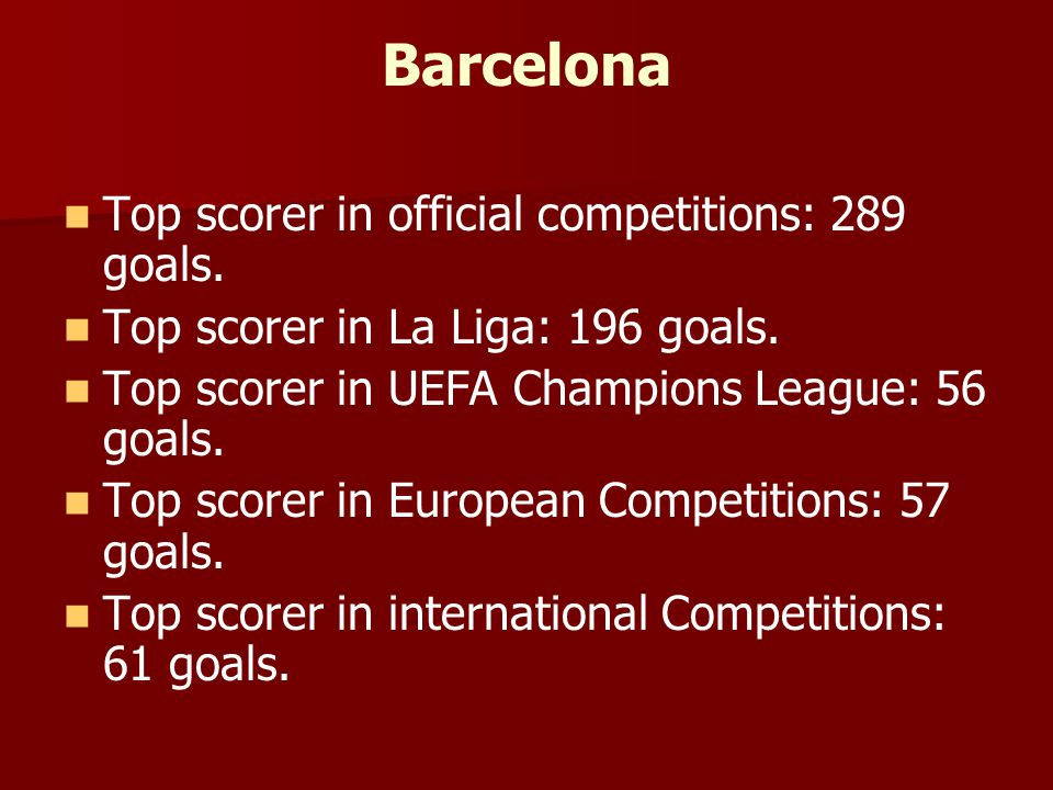Barcelona Top scorer in official competitions: 289 goals. Top scorer in La Liga: 196 goals. Top scorer in UEFA Champions League: 56 goals. Top scorer