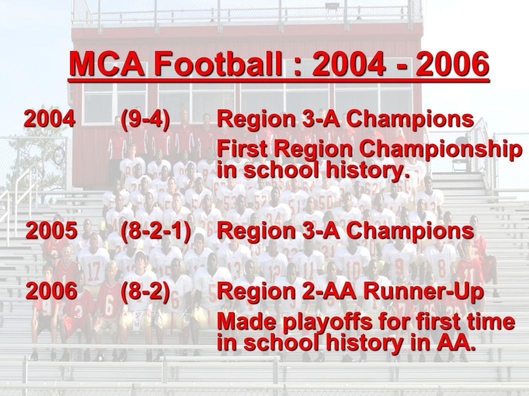 MCA Football : 2004 - 2006 2004 (9-4) Region 3-A Champions 2004 (9-4) Region 3-A Champions First Region Championship in school history. 2005 (8-2-1) R