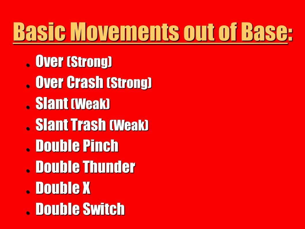 Basic Movements out of Base: Over (Strong) Over (Strong) Over Crash (Strong) Over Crash (Strong) Slant (Weak) Slant (Weak) Slant Trash (Weak) Slant Tr