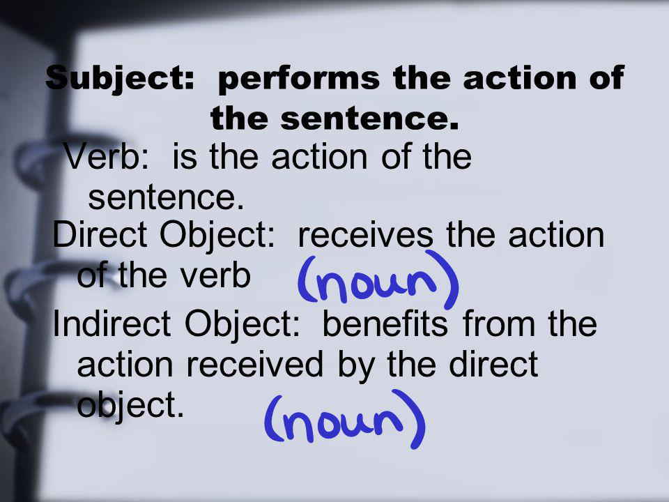 Subject: performs the action of the sentence. Verb: is the action of the sentence. Direct Object: receives the action of the verb Indirect Object: ben
