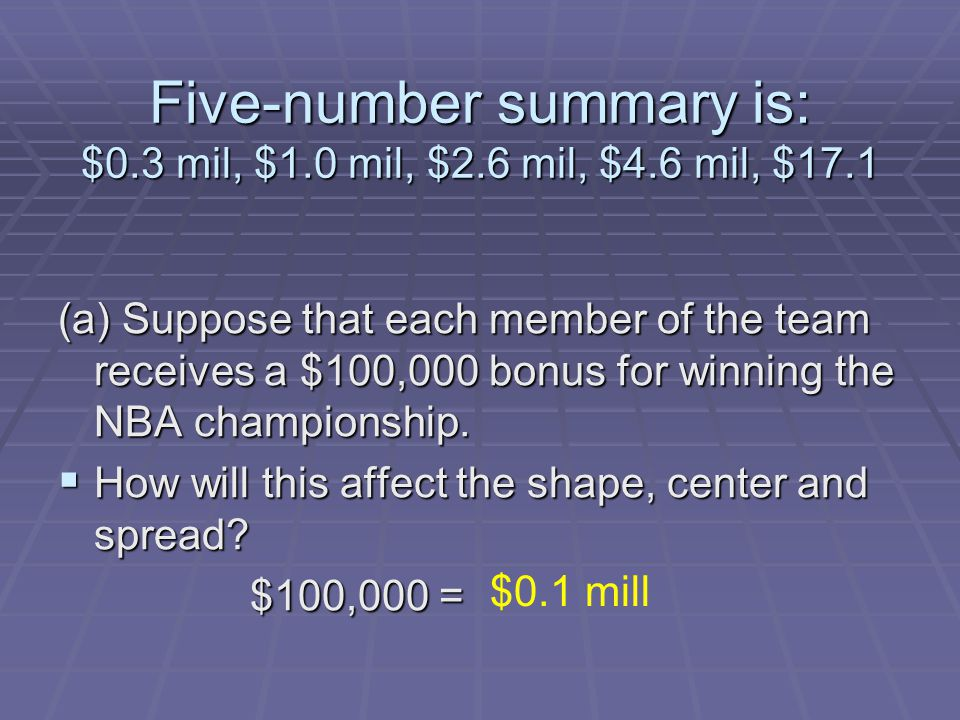 Five-number summary is: $0.3 mil, $1.0 mil, $2.6 mil, $4.6 mil, $17.1 (a) Suppose that each member of the team receives a $100,000 bonus for winning t