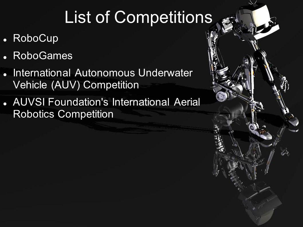 List of Competitions RoboCup RoboGames International Autonomous Underwater Vehicle (AUV) Competition AUVSI Foundation s International Aerial Robotics Competition