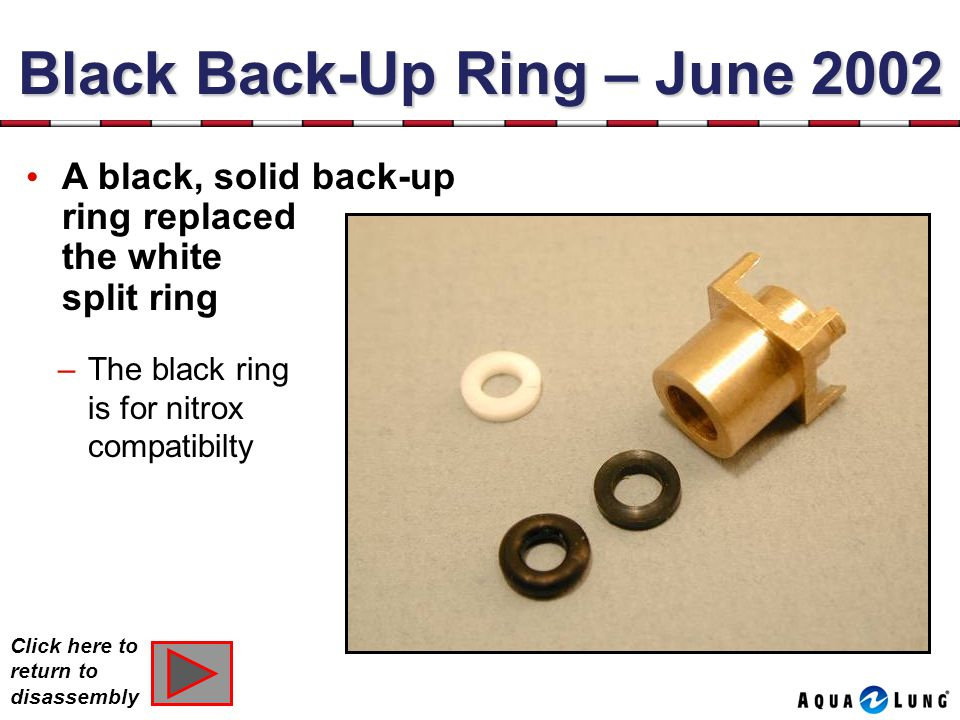 Black Back-Up Ring – June 2002 –The black ring is for nitrox compatibilty A black, solid back-up ring replaced the white split ring Rev.