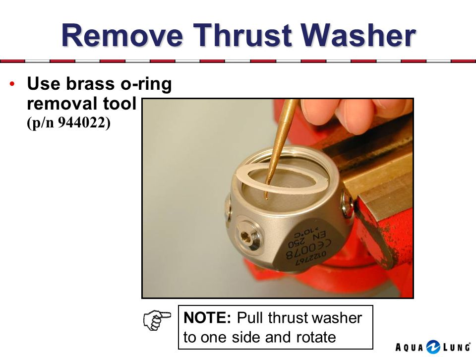 Remove Thrust Washer Use brass o-ring removal tool (p/n 944022) NOTE: Pull thrust washer to one side and rotate