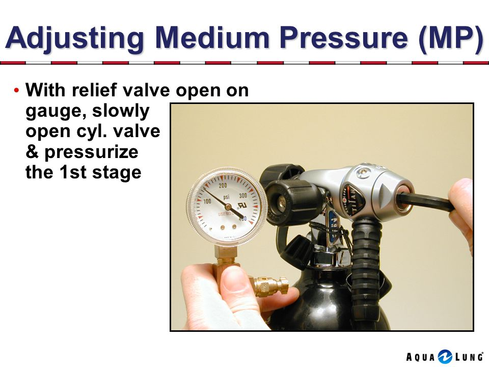 Adjusting Medium Pressure (MP) With relief valve open on gauge, slowly open cyl.
