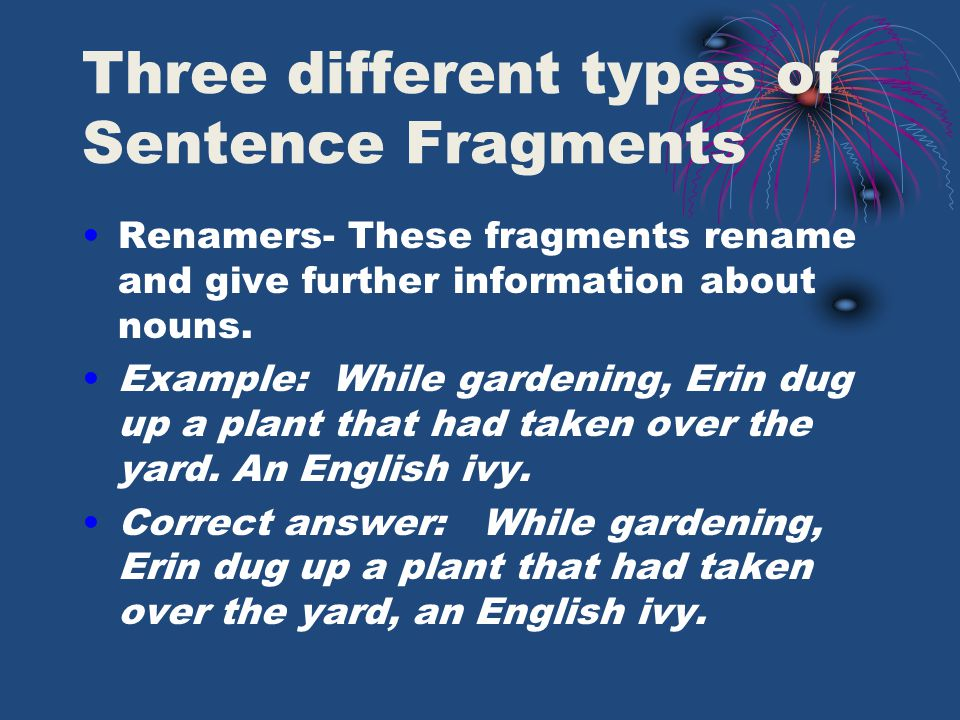 Three different types of Sentence Fragments Renamers- These fragments rename and give further information about nouns.