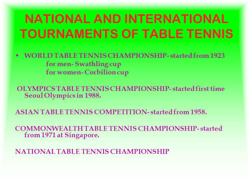 NATIONAL AND INTERNATIONAL TOURNAMENTS OF TABLE TENNIS WORLD TABLE TENNIS CHAMPIONSHIP- started from 1923 for men- Swathling cup for women- Corbilion cup OLYMPICS TABLE TENNIS CHAMPIONSHIP- started first time Seoul Olympics in 1988.
