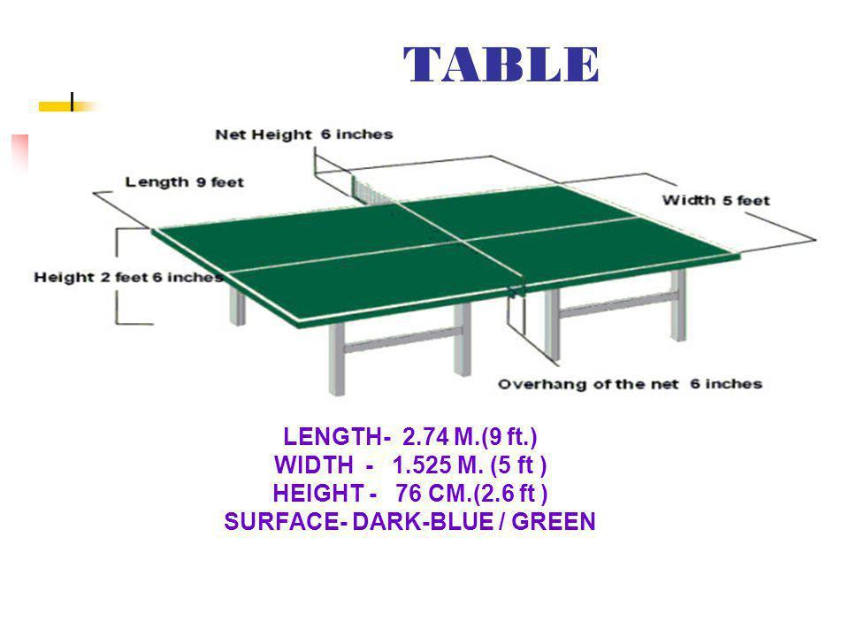 TABLE LENGTH- 2.74 M.(9 ft.) WIDTH - 1.525 M.