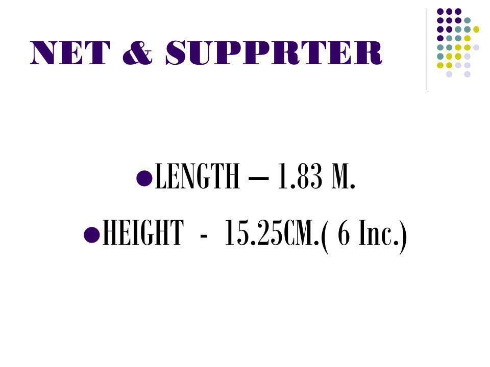 NET & SUPPRTER LENGTH – 1.83 M. HEIGHT - 15.25CM.( 6 Inc.)
