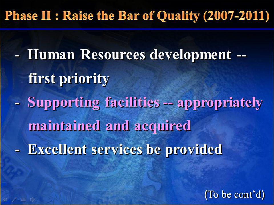 - Human Resources development -- first priority - Supporting facilities -- appropriately maintained and acquired - Excellent services be provided - Hu