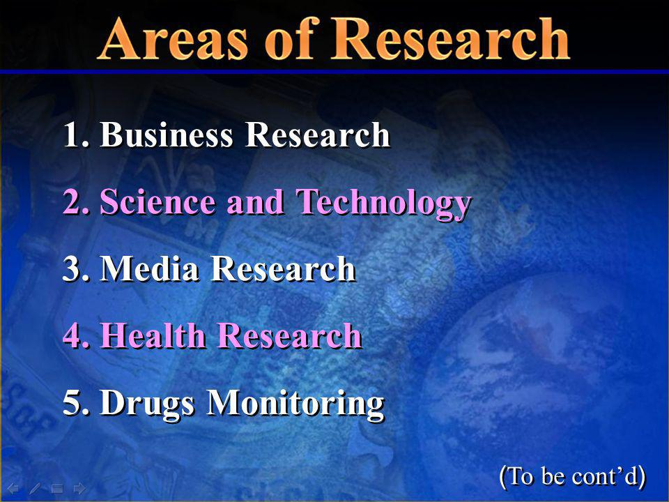 1. Business Research 2. Science and Technology 3. Media Research 4. Health Research 5. Drugs Monitoring 1. Business Research 2. Science and Technology