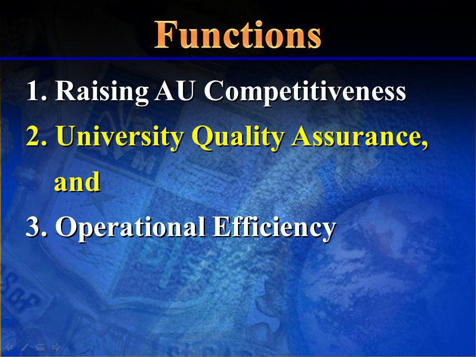 1. Raising AU Competitiveness 2. University Quality Assurance, and 3. Operational Efficiency 1. Raising AU Competitiveness 2. University Quality Assur