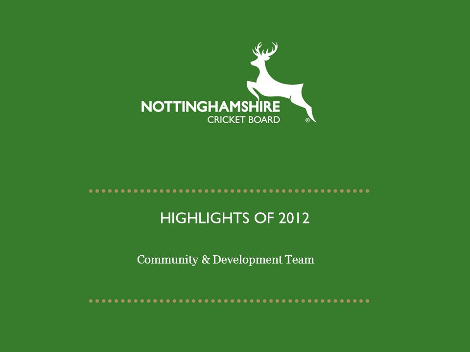 HIGHLIGHTS OF 2012 Community & Development Team