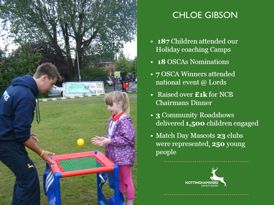 CHLOE GIBSON 187 Children attended our Holiday coaching Camps 18 OSCAs Nominations 7 OSCA Winners attended national event @ Lords Raised over £1k for NCB Chairmans Dinner 3 Community Roadshows delivered 1,500 children engaged Match Day Mascots 23 clubs were represented, 250 young people