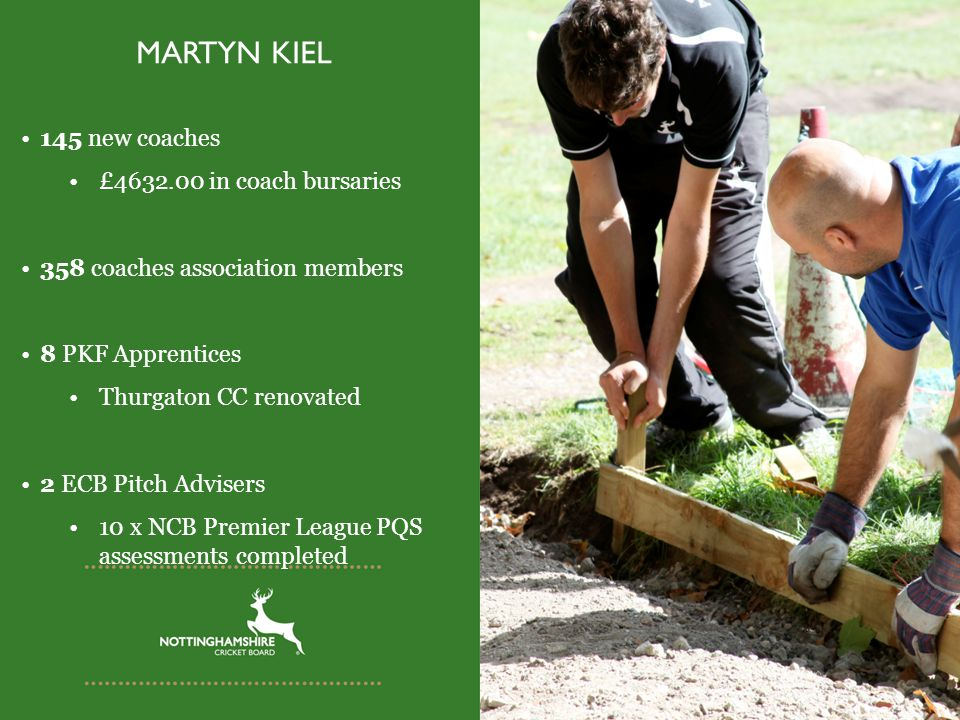 MARTYN KIEL 145 new coaches £4632.00 in coach bursaries 358 coaches association members 8 PKF Apprentices Thurgaton CC renovated 2 ECB Pitch Advisers 10 x NCB Premier League PQS assessments completed