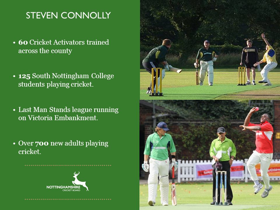 STEVEN CONNOLLY 60 Cricket Activators trained across the county 125 South Nottingham College students playing cricket.