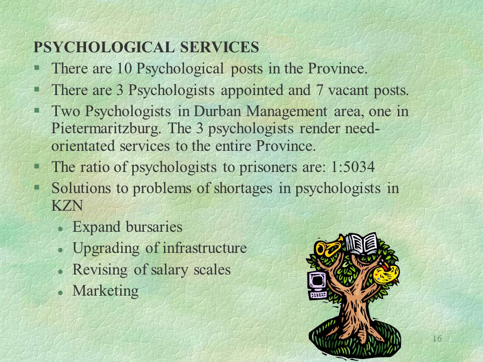 16 PSYCHOLOGICAL SERVICES §There are 10 Psychological posts in the Province.