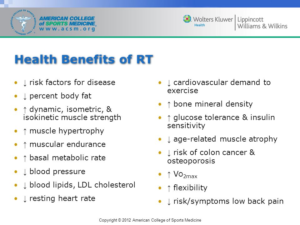 Copyright © 2012 American College of Sports Medicine Health Benefits of RT risk factors for disease percent body fat dynamic, isometric, & isokinetic muscle strength muscle hypertrophy muscular endurance basal metabolic rate blood pressure blood lipids, LDL cholesterol resting heart rate cardiovascular demand to exercise bone mineral density glucose tolerance & insulin sensitivity age-related muscle atrophy risk of colon cancer & osteoporosis V O 2max flexibility risk/symptoms low back pain