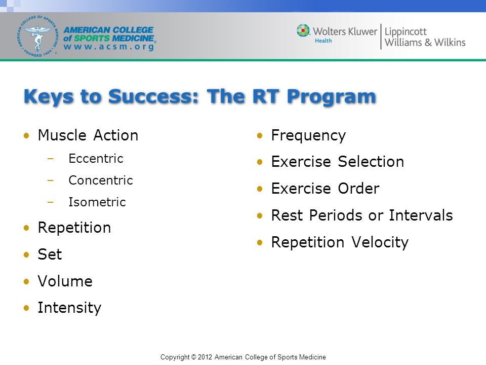 Copyright © 2012 American College of Sports Medicine Keys to Success: The RT Program Muscle Action –Eccentric –Concentric –Isometric Repetition Set Volume Intensity Frequency Exercise Selection Exercise Order Rest Periods or Intervals Repetition Velocity