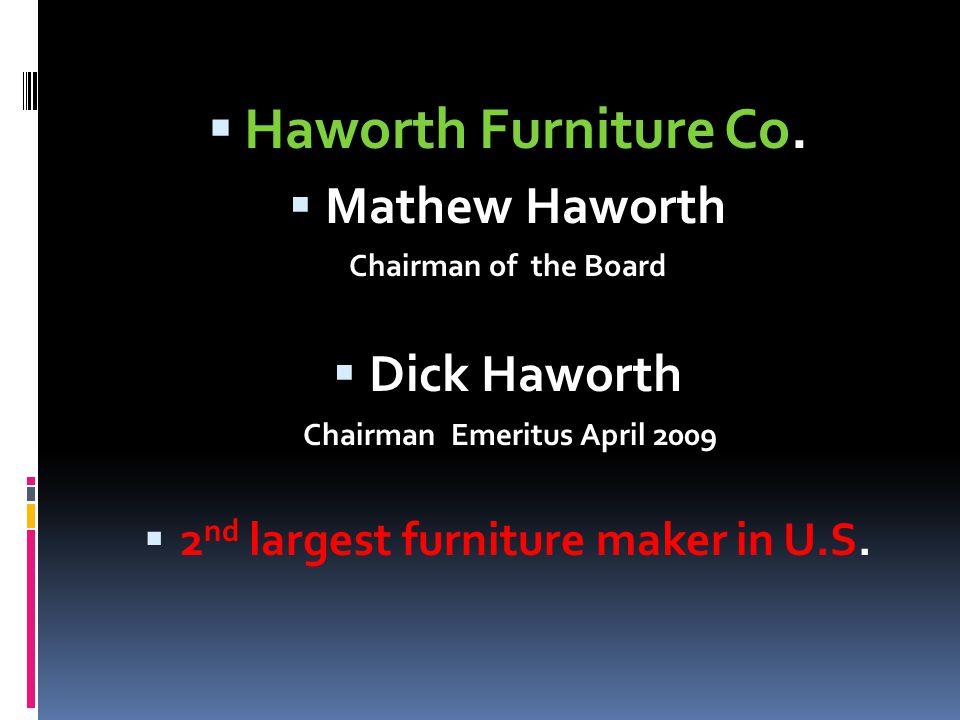 Haworth Furniture Co. Mathew Haworth Chairman of the Board Dick Haworth Chairman Emeritus April 2009 2 nd largest furniture maker in U.S.