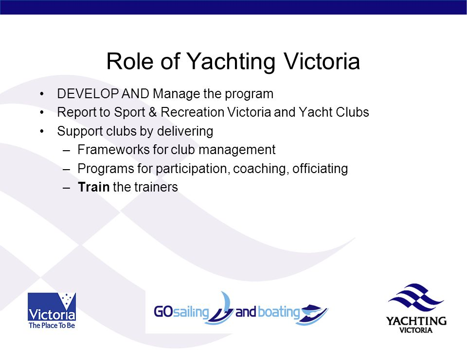 Role of Yachting Victoria DEVELOP AND Manage the program Report to Sport & Recreation Victoria and Yacht Clubs Support clubs by delivering –Frameworks for club management –Programs for participation, coaching, officiating –Train the trainers