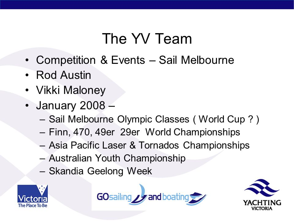 The YV Team Competition & Events – Sail Melbourne Rod Austin Vikki Maloney January 2008 – –Sail Melbourne Olympic Classes ( World Cup .
