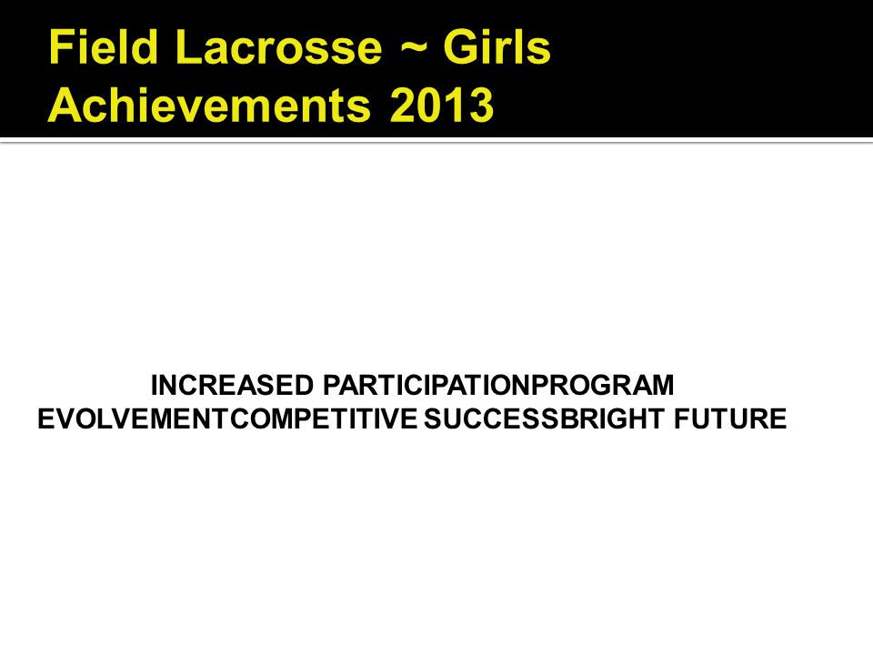 Field Lacrosse ~ Girls Achievements 2013 INCREASED PARTICIPATIONPROGRAM EVOLVEMENTCOMPETITIVE SUCCESSBRIGHT FUTURE