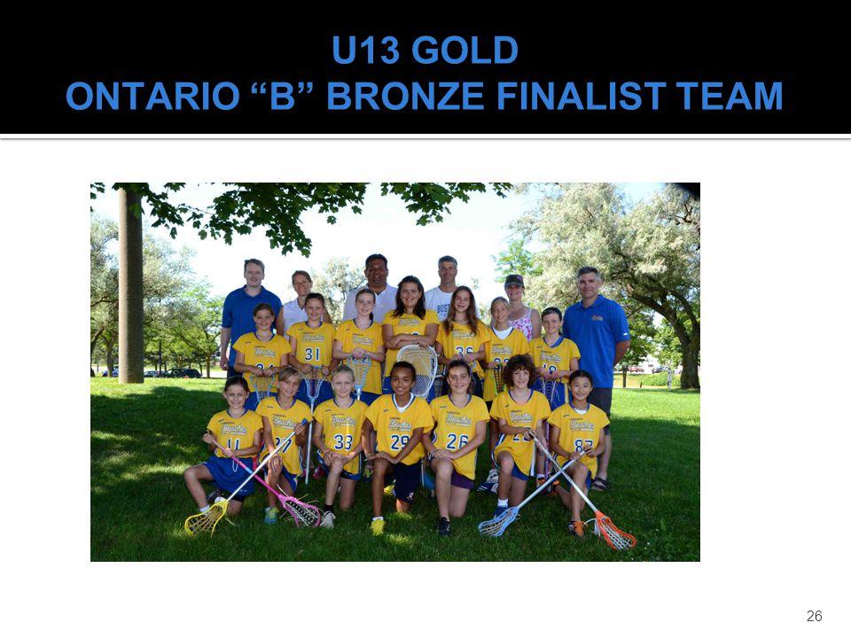 26 U13 GOLD ONTARIO B BRONZE FINALIST TEAM