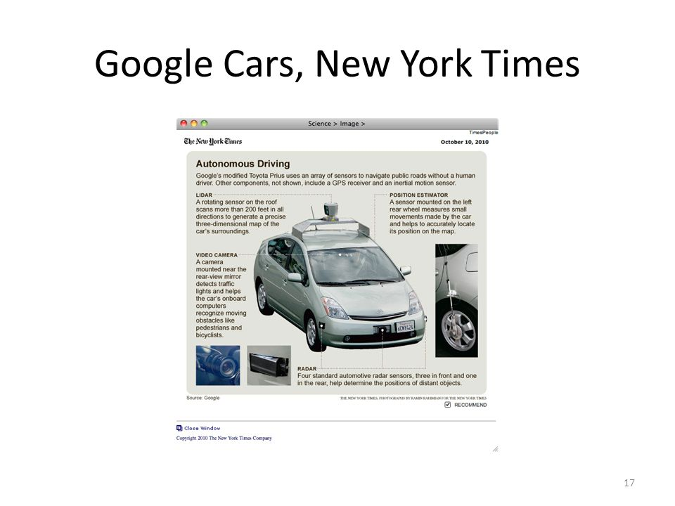 Google Cars, New York Times 17