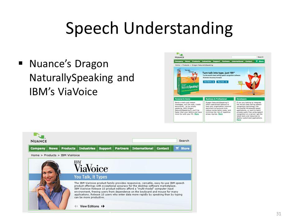 Speech Understanding Nuances Dragon NaturallySpeaking and IBMs ViaVoice 31