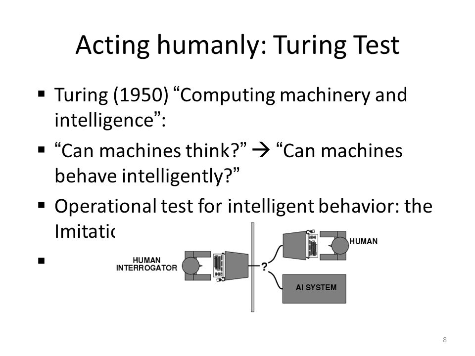 Turing (1950) Computing machinery and intelligence: Can machines think? Can machines behave intelligently? Operational test for intelligent behavior: