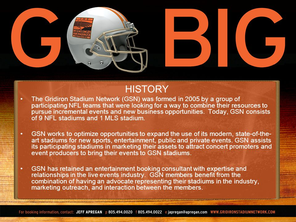 HISTORY The Gridiron Stadium Network (GSN) was formed in 2005 by a group of participating NFL teams that were looking for a way to combine their resources to pursue incremental events and new business opportunities.