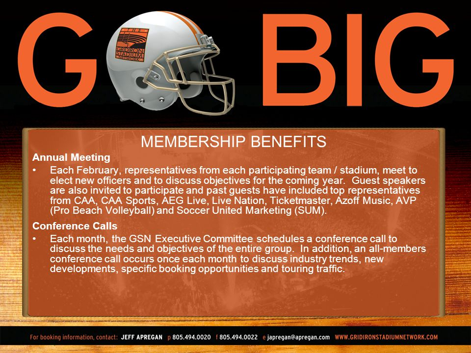 MEMBERSHIP BENEFITS Annual Meeting Each February, representatives from each participating team / stadium, meet to elect new officers and to discuss objectives for the coming year.